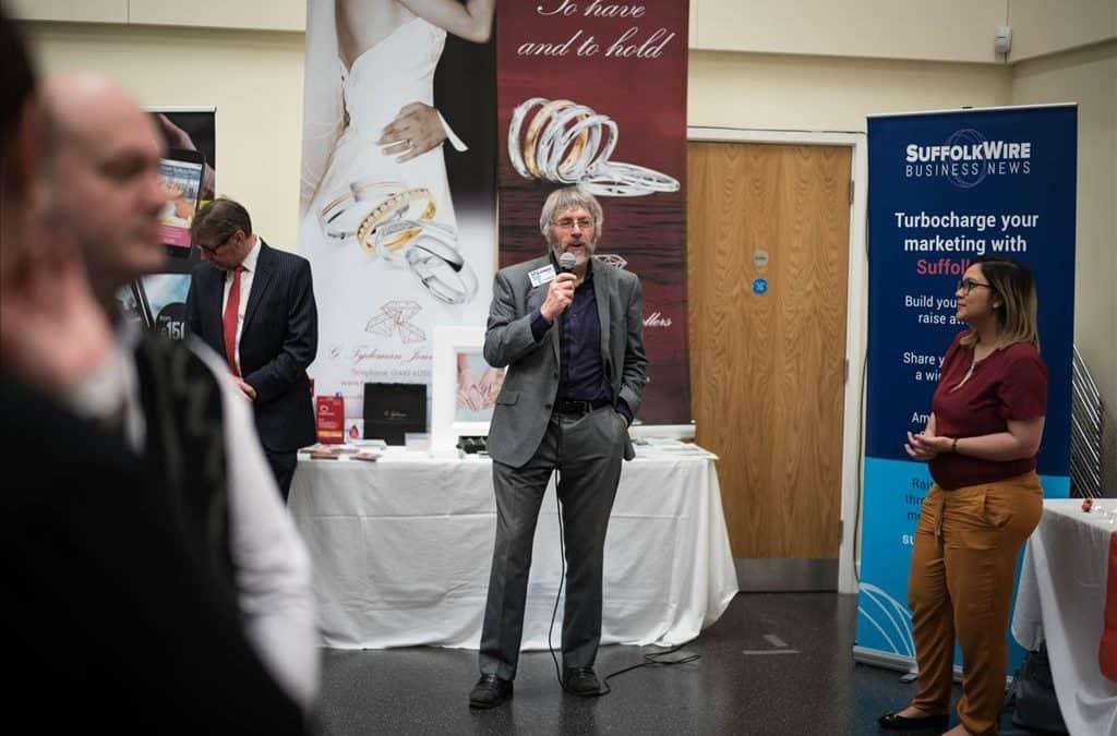 Allan Scott speaking at the Mid-Suffolk Business Exhibition in 2019